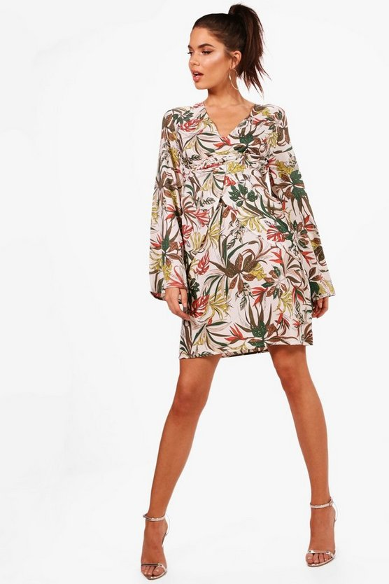 Tall Palm Print Wrap Kimono Dress