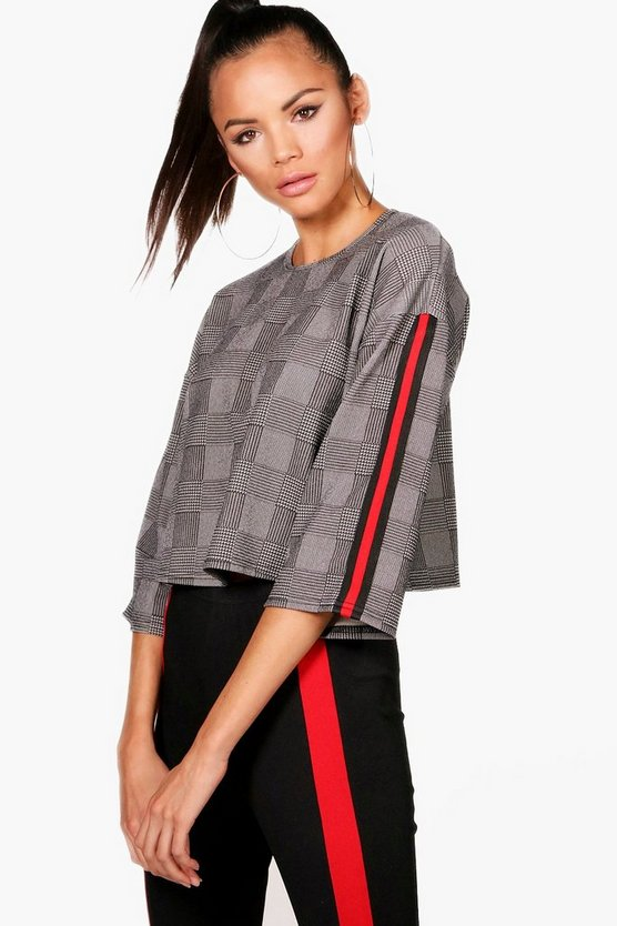 Tall Emily Sports Trim Price Of Wales Check Top by Boohoo