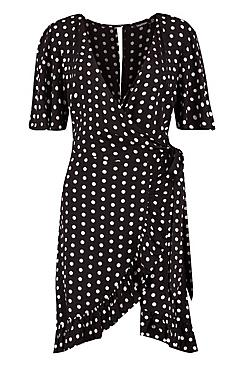 Tall Isabella Spot Print Ruffle Dress