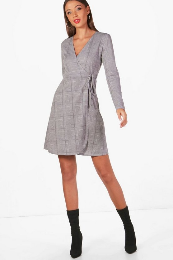 Tall Evie Prince Of Wales Check Wrap Dress