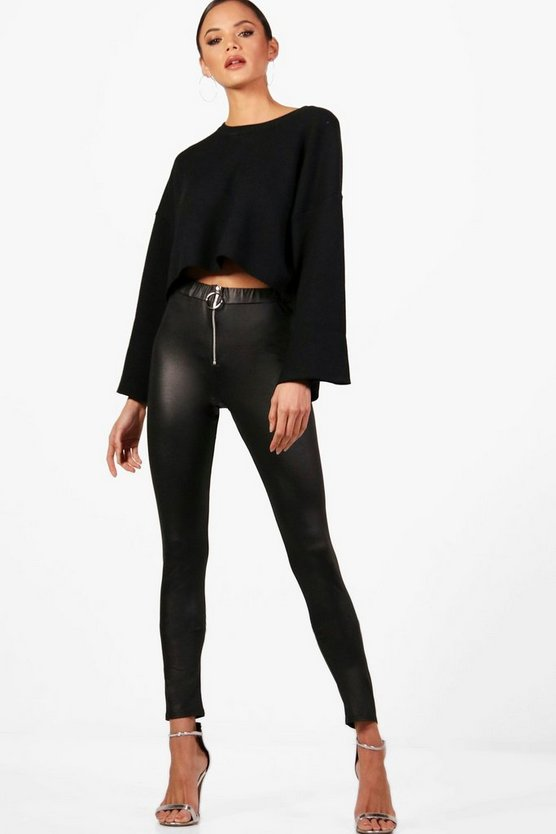 Tall Zip Front Wet Look Leggings