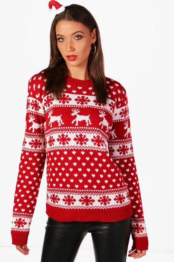 Tall Laura Snowflake And Reindeers Jumper