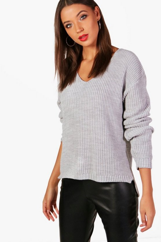 Tall Georgie Oversized V Neck Jumper