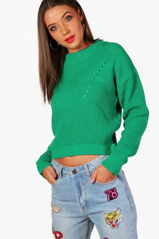 Tall Sofia Open Knit Turtle Neck Jumper