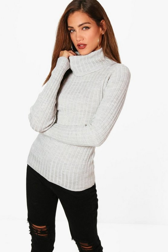 Tall Jules Roll Neck Rib Knit Jumper