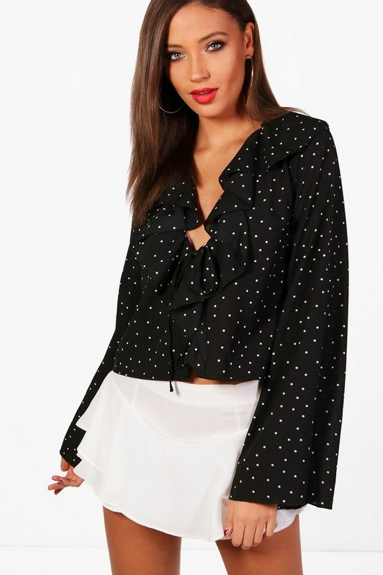 Tall Ruffle Front Spot Print Blouse
