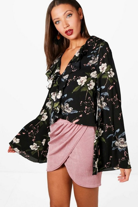 Tall Ruffle Floral Wide Sleeve Blouse