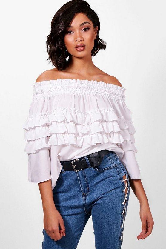 Tall Micro Ruffle Off The Shoulder Top