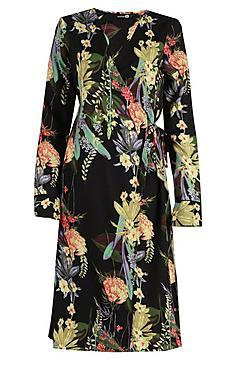 Tall Floral Print Wrap Kimono Dress