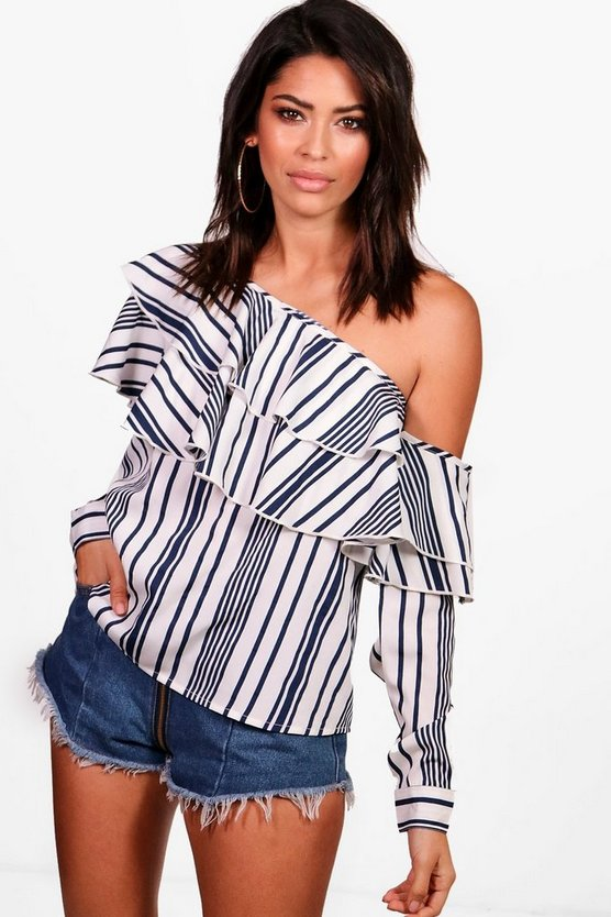 Tall One Shoulder Stripe Ruffle Top