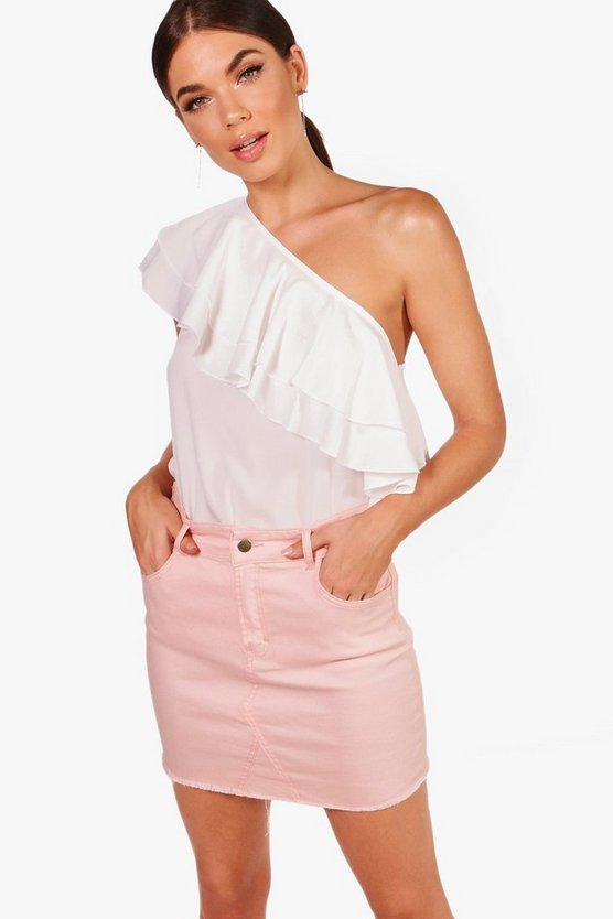 Tall One Shoulder Ruffle Top