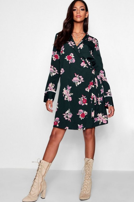 Tall Alexia Oriental Print Wrap Dress