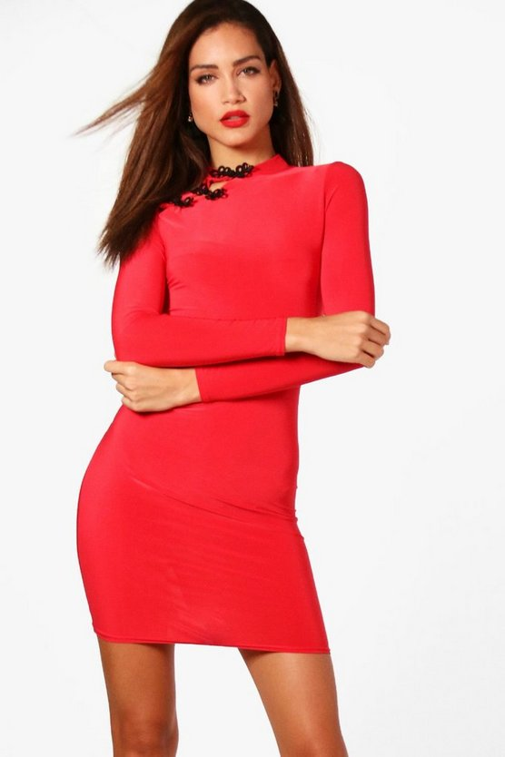 Tall High Neck Mandarin Collar Dress