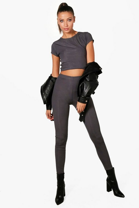 Tall Erica Ribbed Crop And Legging Loungwear Set