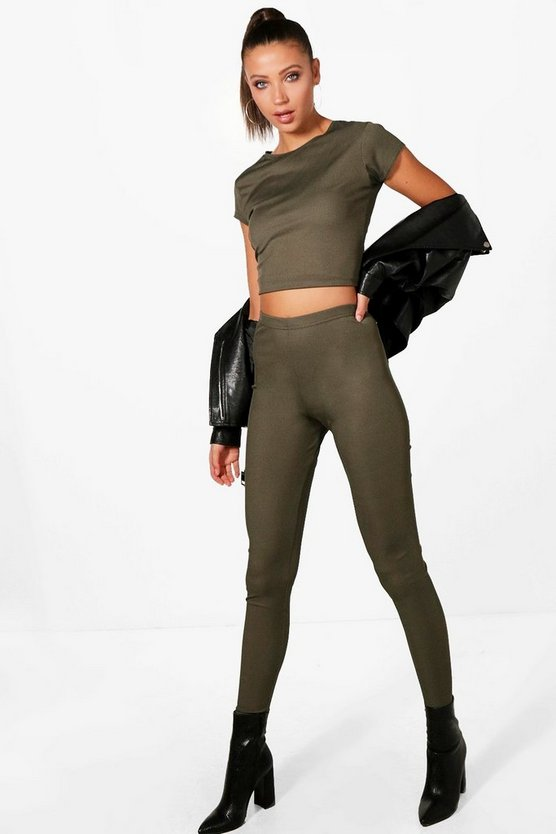 Tall Erica Ribbed Crop And Legging Loungewear Set