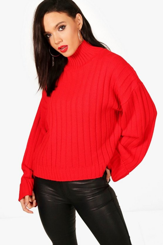 Tall Alaina Maxi Wide Sleeve Rib Jumper