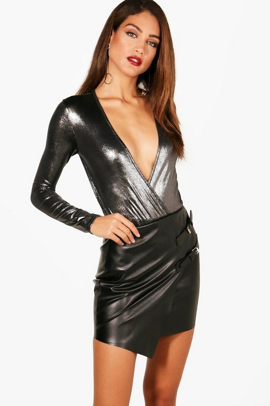 Tall Metallic Wrap Front Bodysuit