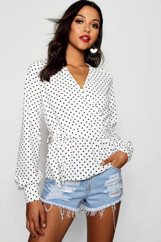 Tall Spot Print Wrap Front Top