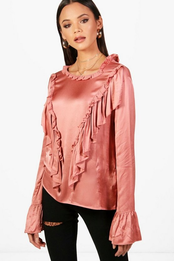 Tall Harriet Satin Ruffle Blouse