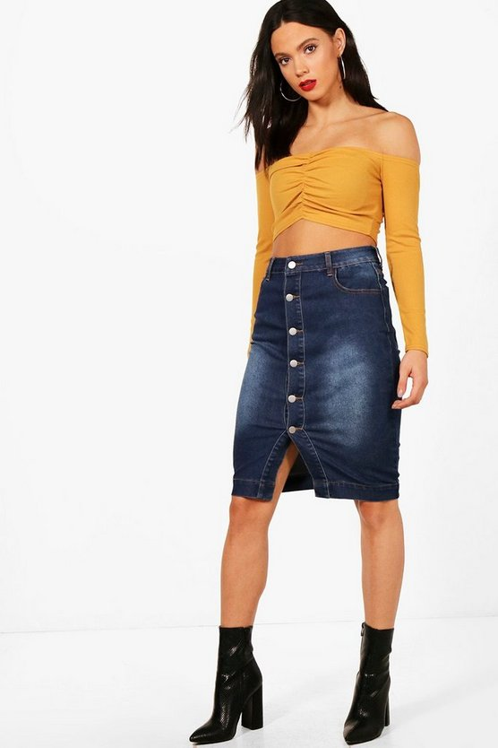 Tall Laura Midi Length Denim Skirt