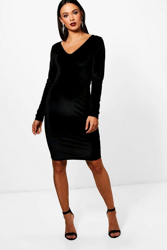 Tall Daisy Plunge Velvet Dress