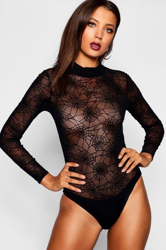 Tall Maisie Halloween Spider Web Mesh Bodysuit