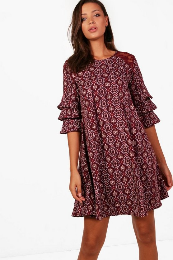 Tall Ciara Woven Lace Insert Ruffle Sleeve Dress