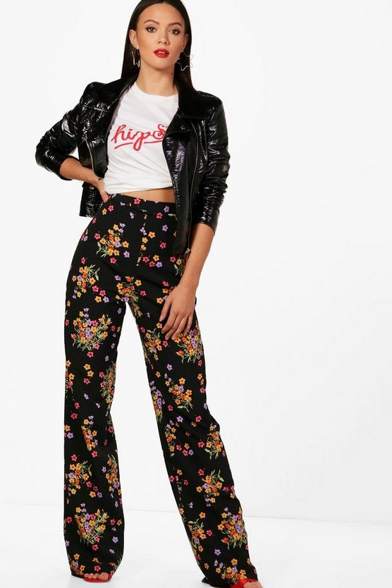 Tall Kayla Floral Print Wide Leg Woven Trousers