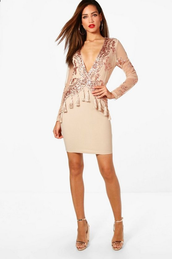 Tall Heather Sequin & Tassel Bodycon Dress