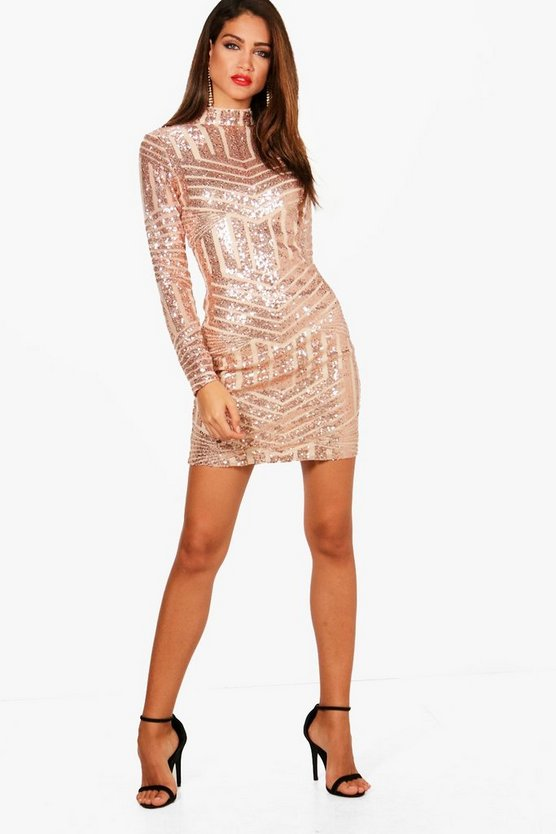 Tall Ava High Neck All Over Patterned Sequin Dress