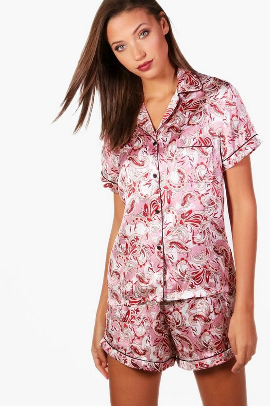 Tall Eva Paisley Print Button Through Short Set