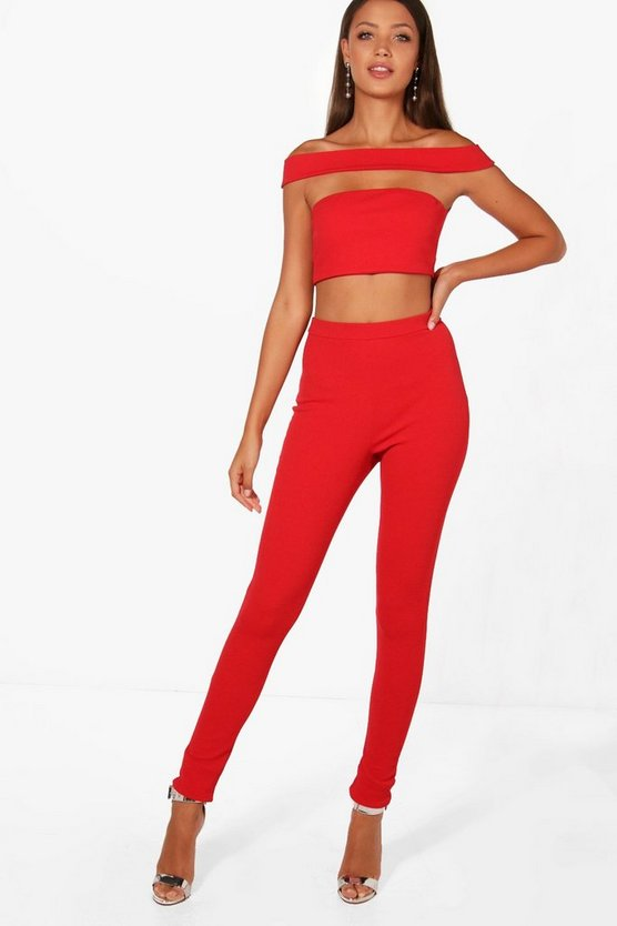 Tall Emily Off The Shoulder Crop & Trouser Co-ord
