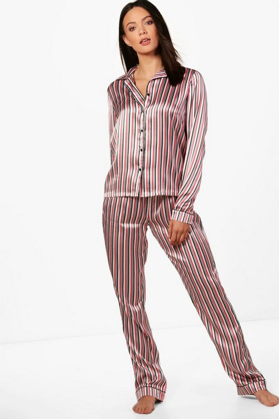 Tall Lara Satin Stripe Contrast Trouser Set