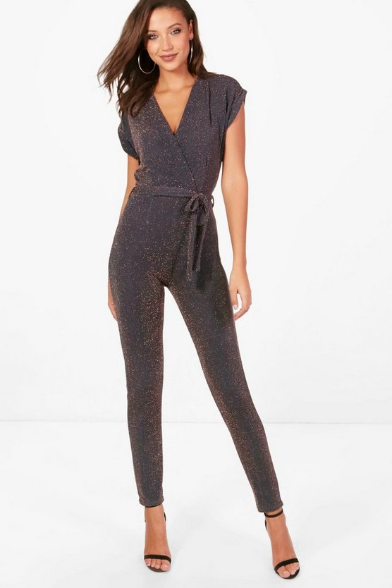 Tall Emma Glitter Wrap Jumpsuit