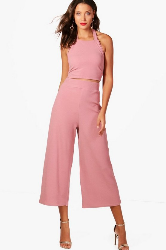 Tall Ivy Wide Leg Trouser And Strappy Crop