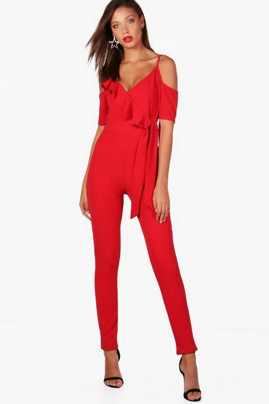 Tall Zoe Ruffle Cold Shoulder Jumpsuit
