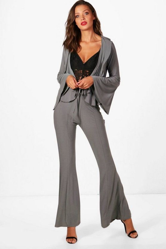 Tall Ruffle Top And Wide Leg Trouser