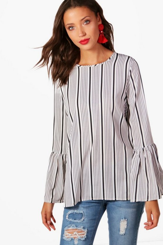 Tall Stella Stripe Flared Sleeve Woven Top