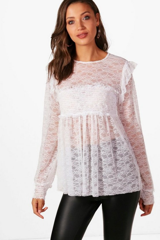 Tall Eliza Lace Shirred Top