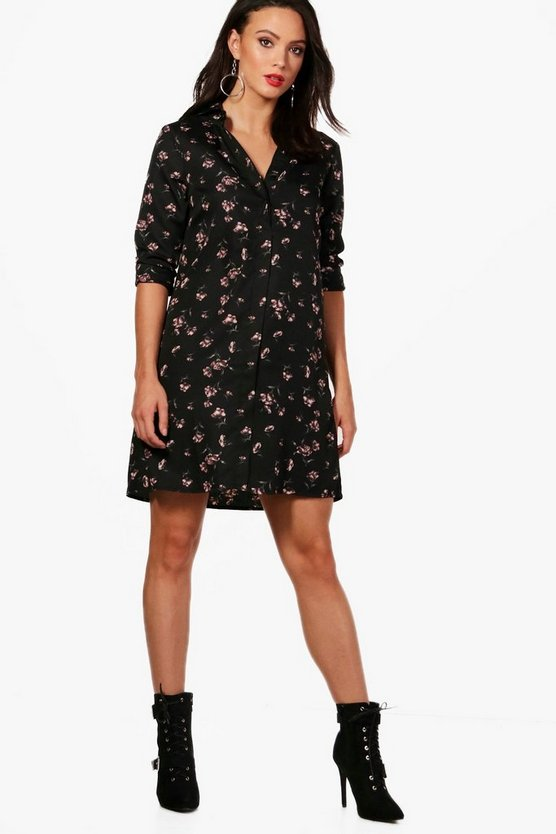 Tall Emily Floral Oversized Shirt Dress