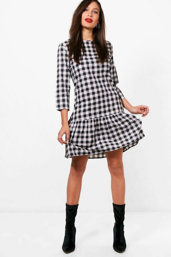 Tall Freya Gingham Frill Hem Dress