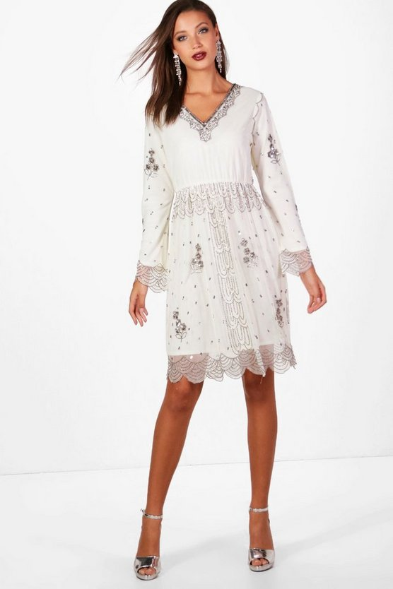 Tall Plunge Sequin Midi Dress