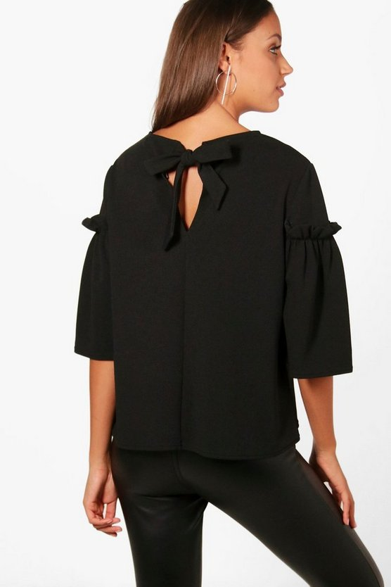 Tall Willow Frill Sleeve Bow Back Top