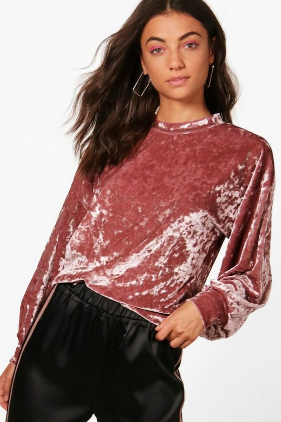 Tall Emily Velvet Crop Sweatshirt