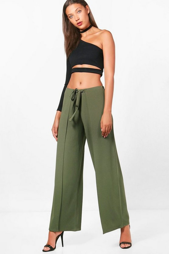 Tall Dahlia D-Ring Wrap Over Wide Leg Trouser