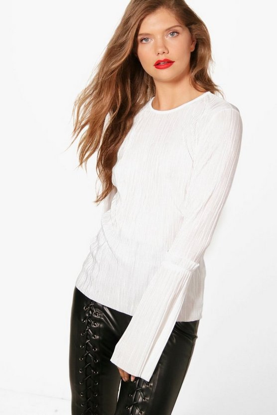Tall Nadia Pleated Frill Sleeve Top