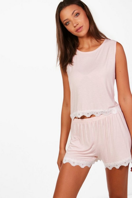 Tall Meggan  Lace Trim PJ Shorts Set