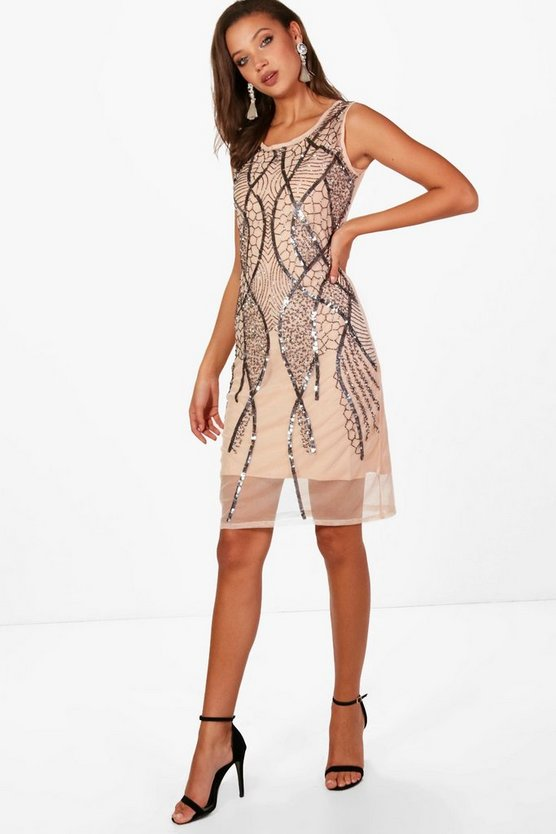 Tall  Hand Sequin and Beaded Midi