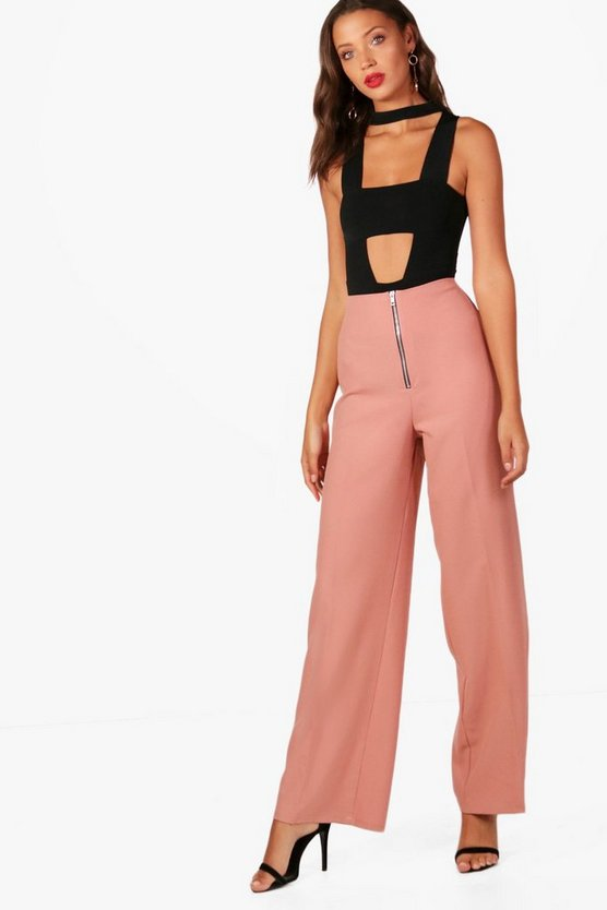 Tall Emily Zip Front Woven Wide Leg Trouser