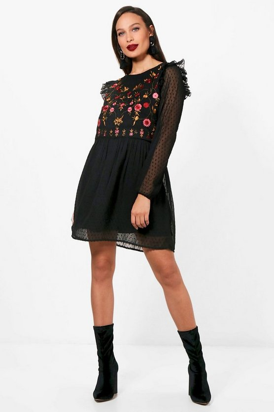 Tall Charlotte Embroidered Dobby Dress
